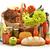 élelmiszer · termékek · bevásárlókosár · víz · bor · gyümölcs - stock fotó © monticelllo