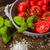 vers · tomaten · kom · basilicum · zout · studio - stockfoto © Moradoheath