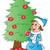 gelukkig · vrouw · kerstboom · geïsoleerd · witte · christmas - stockfoto © morphart