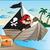 vector of pirates boat and treasure chest at riverbank stock photo © morphart