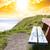 cascalho · praia · pôr · do · sol · cinco · parque - foto stock © morrbyte