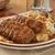 cena · rojo · patatas · ejotes · aislado - foto stock © msphotographic