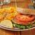 salmon burger with macaroni and cheese stock photo © msphotographic