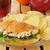 vers · sinaasappelsap · croissant · sandwich · houten · tafel · frans - stockfoto © msphotographic