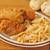 frango · assado · arroz · comida · refeição · tigela - foto stock © msphotographic