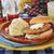 salmon burger and potato salad stock photo © msphotographic