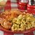 pollo · tavolo · da · picnic · maccheroni · insalata · estate - foto d'archivio © msphotographic