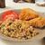 fried chicken with black bean quinoa salad stock photo © msphotographic