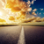 劇的な · 日没 · アスファルト · 道路 · 太陽 · 光 - ストックフォト © mycola
