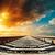 railway closeup to horizon under colored sky in sunset stock photo © mycola