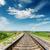 rail road to horizon under deep blue sky stock photo © mycola