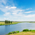 view to landscape with river and clouds in blue sky stock photo © mycola