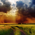 dramatic cloudy sky over road in green field stock photo © mycola