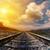 fantastic sunset over railroad to horizon stock photo © mycola