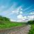 railroad to horizon and cloudy sky stock photo © mycola