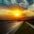 dramatic sunset over asphalt road stock photo © mycola