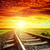 sunset with red clouds and railroad to horizon stock photo © mycola
