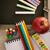 terug · naar · school · boeken · rode · appel · groene · stilleven - stockfoto © mythja