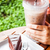 refreshing break with iced coffee and chocolate cake stock photo © nalinratphi