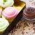 rózsaszín · minitorták · csokoládé · tejszínhab · minitorta · áll - stock fotó © neirfy