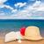 słomkowy · kapelusz · książki · piasku · odizolowany · biały · morza - zdjęcia stock © neirfy