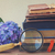 pile of old books with flowers stock photo © neirfy