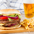 big hamburger with french fries and beer stock photo © neirfy