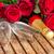 dekoratív · pezsgő · üveg · sötét · esküvő · buli - stock fotó © neirfy