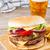 vers · rundvlees · hamburger · aardappel · bier · glas - stockfoto © neirfy