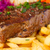plaat · groenten · frietjes · biefstuk · achtergrond · vlees - stockfoto © neirfy