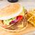 Burger · cam · bira · ahşap · masa · gıda · tablo - stok fotoğraf © neirfy
