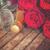sötét · vörös · rózsák · nyak · pezsgő · valentin · nap · bor - stock fotó © neirfy