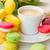 kleurrijk · koffiekopje · Geel · tulpen · cookies · boeket - stockfoto © neirfy