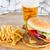 büyük · Burger · patates · kızartması · bira · taze · bar - stok fotoğraf © neirfy