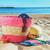 strwa bag with sunbathing accessories on sandy beach stock photo © neirfy