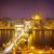 cadeia · ponte · linha · do · horizonte · praga · Budapeste · noite - foto stock © neirfy