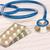 estetoscopio · corazón · supervisar · azul · pluma · mesa - foto stock © neirfy