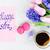 mooie · roze · tulpen · witte · papier · Blauw - stockfoto © neirfy