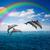 パック · ジャンプ · イルカ · 海景 · 深い · 海 - ストックフォト © neirfy