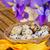 яйца · пасхальных · яиц · Пасху · желтый · лента · деревянный · стол - Сток-фото © neirfy