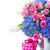 pink roses and blue hortensia flowers close up stock photo © neirfy