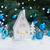 peperkoek · kerstboom · geschenk · houten · slee · Blauw - stockfoto © neirfy