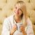 молодые · красивая · женщина · сидят · кровать · питьевой · кофе - Сток-фото © nejron