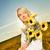 молодые · красивая · женщина · букет · подсолнухи · области · закат - Сток-фото © nejron