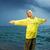 jonge · vrouw · Geel · regenjas · oceaan · storm · zee - stockfoto © nejron
