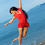 beautiful young woman jumping in the sea stock photo © nejron