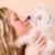 dziewczyna · szczeniak · blisko · biały · psa - zdjęcia stock © nejron