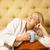 güzel · genç · kadın · oturma · yatak · içme · gülümseme - stok fotoğraf © nejron