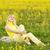 aranyos · lány · ül · absztrakt · digitális · kompozit · gyermek - stock fotó © nejron