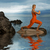 yoga · femeie · senin · apus · plajă · pune - imagine de stoc © nejron